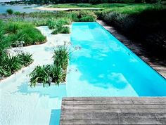The wading pools steps leading down to the swimming pool are brilliant. Picture lounge chairs seeming to float in the pool. Backyard Pool Designs, Backyard Patio, Modern Pools, The Dunes, Cool Pools, Outdoor Spaces, Outdoor Living, Outdoor Ideas, Great View