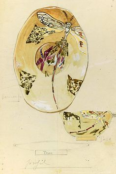 Atelier Emile Gallé Drawing,Dsign for a Cup and Saucer with Dragonflies 1879 - 1889 Paris,mulsee d' Orsay,don de M.et Mne Jean Bourgogne,1986