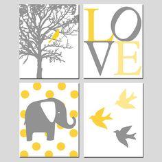 Nursery Quad  Set of Four 8x10 Prints  Polka Dot by Tessyla - Love the colors