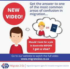 Job First or Visa First? Find out why it's important to get a visa before finding a job in Australia. Watch the video here: http://migrate2oz.co.za/australian-visa-application-videos