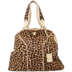 Pre-owned Yves Saint Laurent Leopard Muse Tote (6,070 MXN) ❤ liked on Polyvore featuring bags, handbags, tote bags, animal print, tote handbags, zip tote bag, purse tote, brown tote purse and hand bags