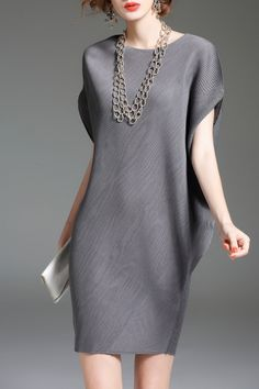 Eveda.cc Gray Batwing Sleeve Mini Shift Dress   Mini Dresses at DEZZAL Click on picture to purchase!