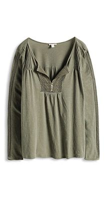 Esprit / Longsleeve mit Spitze, 100% Baumwolle Longsleeve, Trends, Blouse, Sleeves, Tops, Style, Fashion, Lace, Cotton