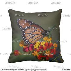 Queen on tropical milkweed throw pillow #queenbutterfly #animal #butterflies #butterfly #macro #insects #wings