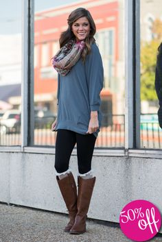 44 Hottest Winter Outfits Ideas With Scarf That Adds To Your Beauty Tunics With Leggings, Tight Leggings, Casual Wear, Casual Outfits, Cute Outfits, Dress Outfits, Fashion Outfits, Fashion Ideas, Boots Beauty
