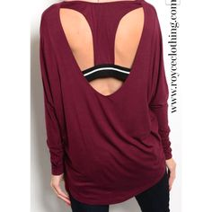 In stocklong sleeved crew neck open back tunic top true to size-longer in the back $29 free shipping www.royceclothing.com #royceclothing #freeshipping