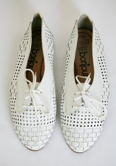 White Woven Oxford Shoes