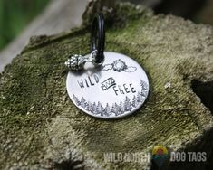 Wild and Free / Pet Tag/ Dog Tag/ Copper /Silver / Gold/ Silver/ Custom/ Pet ID/ Cat Tag/ Hexagon Dog Tag/ Circle dog tag