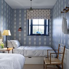 Single Bedroom, Decor, Home, Small Spaces, Box Bed, Bright Curtains, Bed, Interior, White Rooms