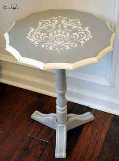 Paint, Stencil, Upcycle! We think this accent table found on Sophia's is absolutely adorable, don't YOU?  Stencil the Brocade No.1 to get a look like this! http://www.cuttingedgestencils.com/Brocade-stencil-damask.html  #cuttingedgestencils #stencils #stenciling #diy