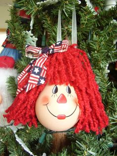 Lightbulb Ornaments | Raggedy Ann Lightbulb Ornament by CyndiMacsNickKnacks on Etsy
