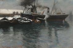 Thaulow, Frits (1847-1906) Fra Bergen havn 1885 (1885)  Pastell