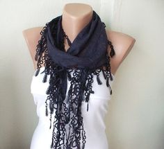 Dark blue Cotton Scarf with Lace by Periay on Etsy From Periay on Etsy · Originally posted by Periay