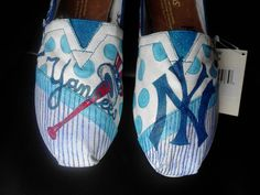 New York Yankees baseball hand painted TOMS by MyHeartToYourSole, $105.00