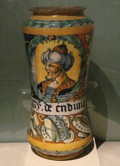 Albarello with head of a Turk Faenza 1555 - Albarello - Wikipedia