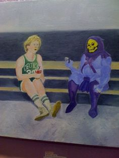 So Many Questions: Here's A Painting Of Larry Bird And Skeletor.