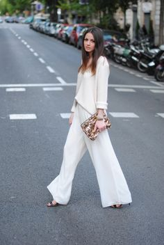 White flare trousers