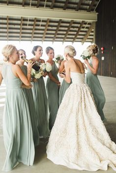 06d315ff42b Featured photo  Ashley Caroline Photography via Style Me Pretty  Love the  mint green bridesmaid dress idea