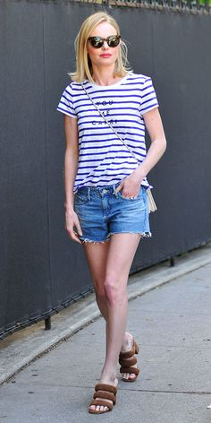 Striped tee with cutoffs.