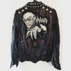 Nosferatu jacket! Studded punk rock, horror, heavy metal studded jacket from Chad Cherry Clothing