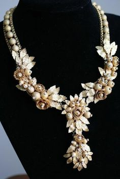 Gold Plated Floral Necklace with Diamantes Signed Miriam Haskell with Pendant