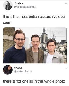 Still cuties without lips and eyebrows — tom hiddleston , benedict cumberbatch, tom holland funny Avengers Humor, Fan Art Avengers, Funny Marvel Memes, Dc Memes, Marvel Jokes, Memes Humor, Marvel Avengers, Funny Memes, Hilarious