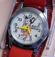 Vintage Mighty Mouse Character Watch, Swiss-Made, Manual Wind Vintage Cartoon, Vintage Toys, Mighty Mouse, Led Watch, Old Toys, Automatic Watch, Vintage Watches, Manual, Children's Watches