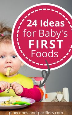 Start here for baby led weaning or your baby's first solid foods (even if you started with purees). 24 easy, simple, and age-appropriate ideas for your baby's first foods. Tips for food safety and how to cut foods for your baby with no teeth. #blw #babyledweaning #babysfirstfoods #firstfoods #babyfood #babyweaning #feedingbaby