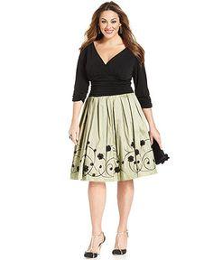 SL Fashions Plus Size Dress, Three-Quarter-Sleeve Ruched A-Line - Plus Size Dresses - Plus Sizes - Macy's