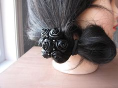Black leather bouquet of roses hair elastic