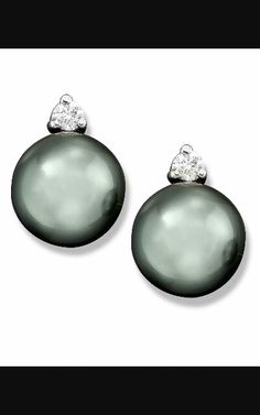 Cultured Tahitian Black Pearl And Diamond Ct Stud Earrings In White Gold Pearls Jewelry Watches Macy S