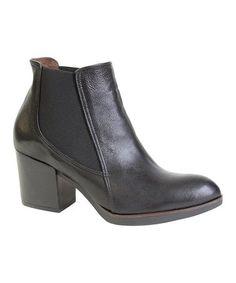 Loving this Black Cassie Leather Bootie on #zulily! #zulilyfinds