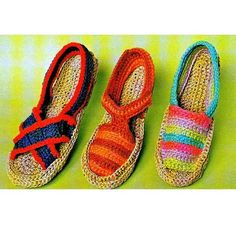 Vintage Crochet Pattern PDF Espadrilles by PastPerfectPatterns, Espadrilles, Espadrille Sandals, Crochet Slipper Pattern, Crochet Slippers, Love Crochet, Knit Crochet, Crochet Hats, Vintage Crochet Patterns, Moda Vintage