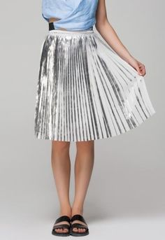 Silver Pleated Midi Skirt, $46; at Front Row Shop