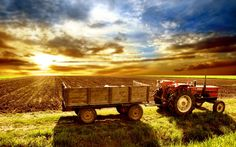 Sunrise, an agricultural field and a tractor | Wallpapers Galaxy