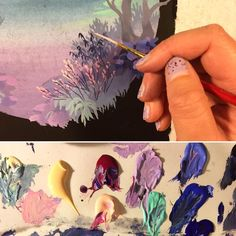 "nimasprout: ""Painting tonight…blue and purple twilight jam. #acrylagouache #wip """
