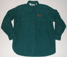 Vintage LL BEAN Men's Green Chamois Cloth Flannel Shirt 17 1/2 Embroidered Deer #LLBean #ButtonFront