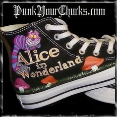 ohhh I would LOVE some Alice themed converse! -- NOT the Disney or Tim Burton versions though.classic B&W Tenniel! Disney Converse, Cool Converse, Custom Converse, Converse Style, Disney Shoes, Converse Sneakers, Custom Shoes, Converse All Star, High Top Sneakers