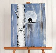 Personalized Canvas Painting Aspen Tree Painting Love Bird Painting Birch Tree Denim Wedding Custom Wedding Gift for Couple Romantic Gift #canvaspaintingbirds