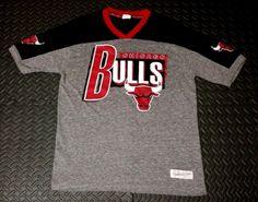 ac218dbb3 Men s Raglan Jersey Basketball Sports NBA T Shirt Chicago Bulls SZ M Gray  Black