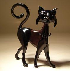 """Blown Glass """"Murano"""" Art Figurine Animal Black Cat"""
