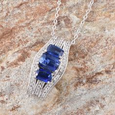 Himalayan Kyanite and White Topaz Pendant with Chain in Platinum Overlay Sterling Silver (Nickel Free)