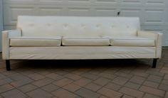 mid century Modern SOFA couch in white naugahyde danish by CIRCA60, $695.00