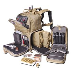 """G-Outdoors Inc. Tactical Backpack Tan Soft 3 Internal Pistol Cases Tactical Range Backpack features three internal handgun storage cases with magazine storage"""" Internal (HoneyComb) frame for rigidity of the pack and Visual I. Tactical Rifle Case, Tactical Backpack, Tactical Packs, Tactical Armor, Airsoft, Bushcraft, Pistol Case, Magazine Storage, Bug Out Bag"""