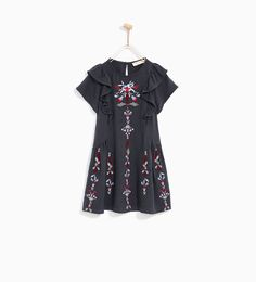 Image 2 of DRESS WITH FLORAL EMBROIDERIES AND FRILL from Zara