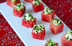 Scooped out watermelon cubes plus mint and feta for refreshing bite-sized apps!