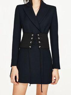 ea65063e68 Black Lace Up Wide Corset Waist Belt