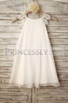 Lace Cap Sleeves Bobo Beach Ivory Chiffon Flower Girl Dress Plus