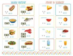 Free printable restaurant menu with prices to practice counting money.