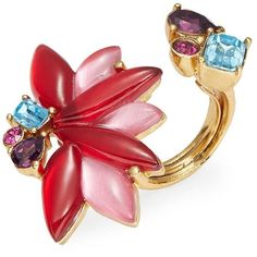 Oscar De La Renta Stone Cocktail Ring ($290) ❤ liked on Polyvore featuring jewelry, rings, red, red jewelry, cocktail jewelry, cocktail ring, evening jewelry and stone rings